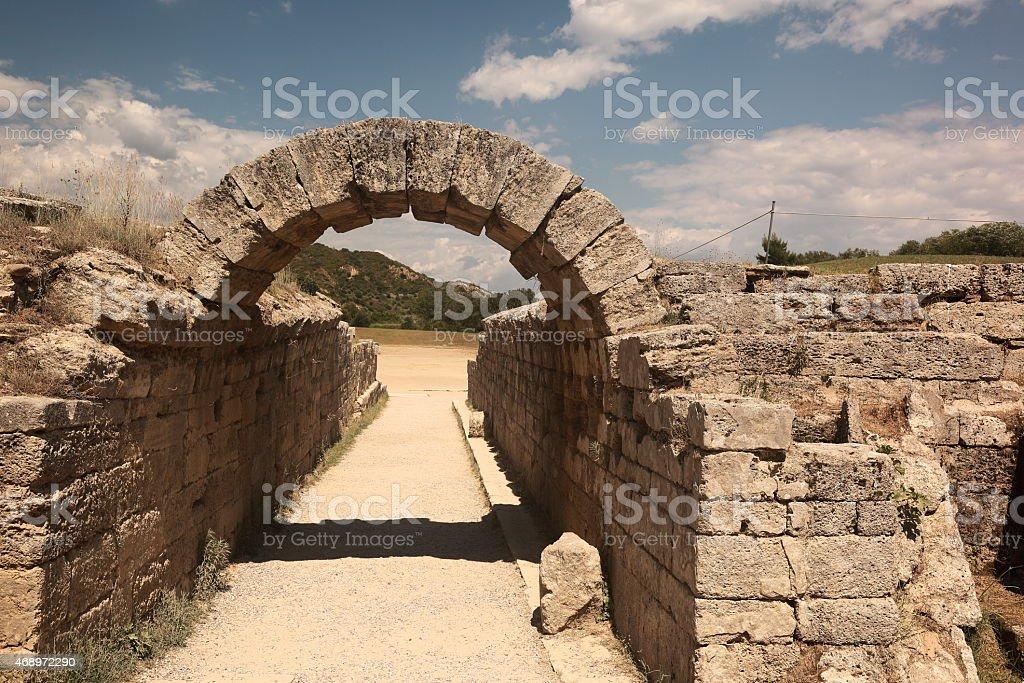Ancient Olympias' stadium entrance stock photo