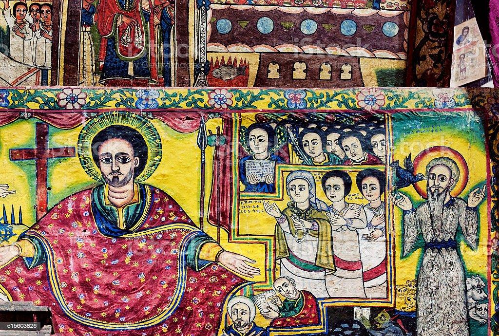 ancient orthodox church interior painted walls in gondar ethiopia stock photo