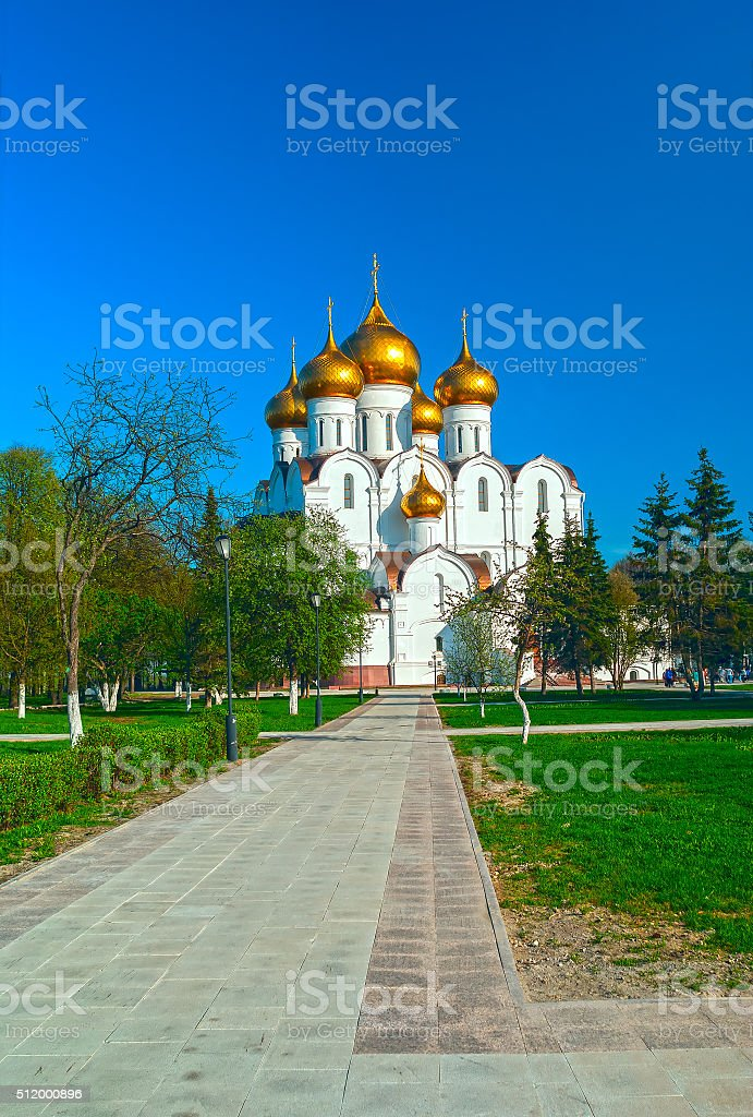 Ancient ortodox christian curch in sunny spring day stock photo