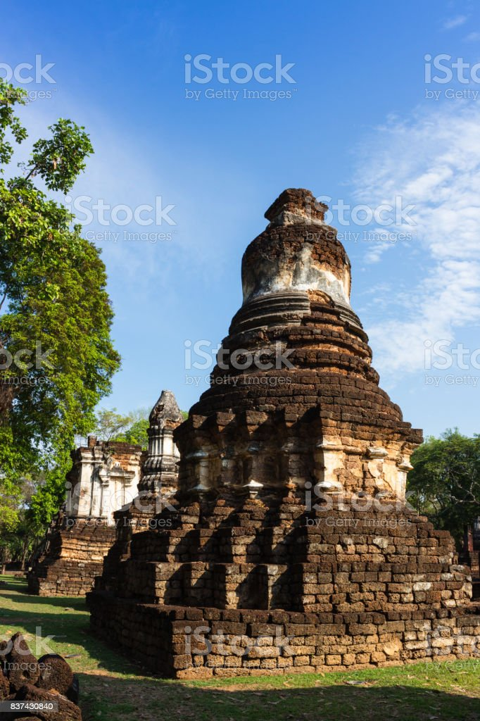 Ancient pagoda at Sukhothai, Thailand stock photo