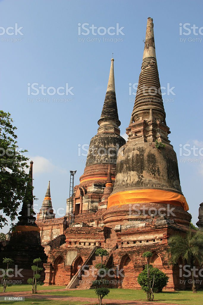 Ancient Pagoda at Watyaichaimongkol Temple in Ayudhaya, Thailand stock photo