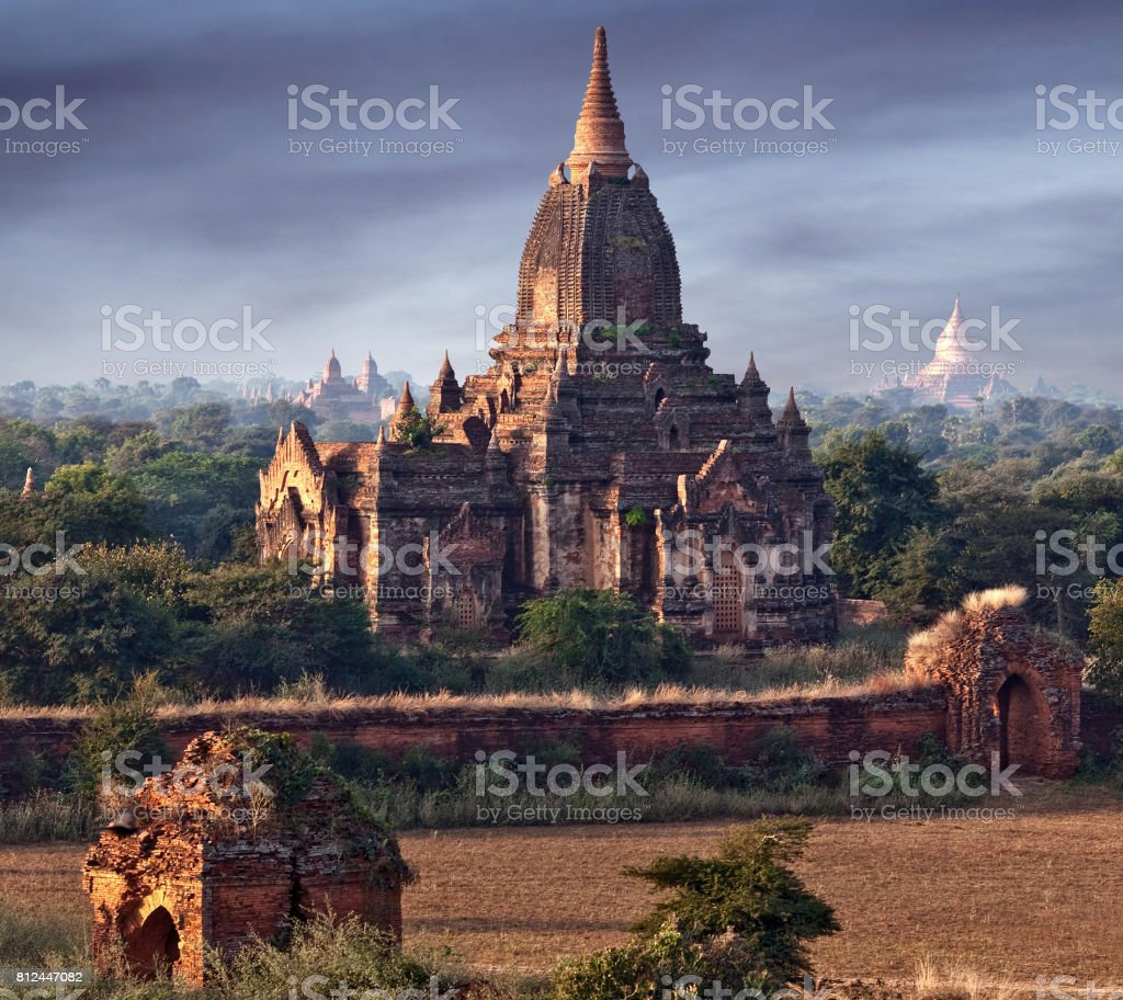 Ancient pagoda in Bagan Archaeological Zone, Myanmar stock photo
