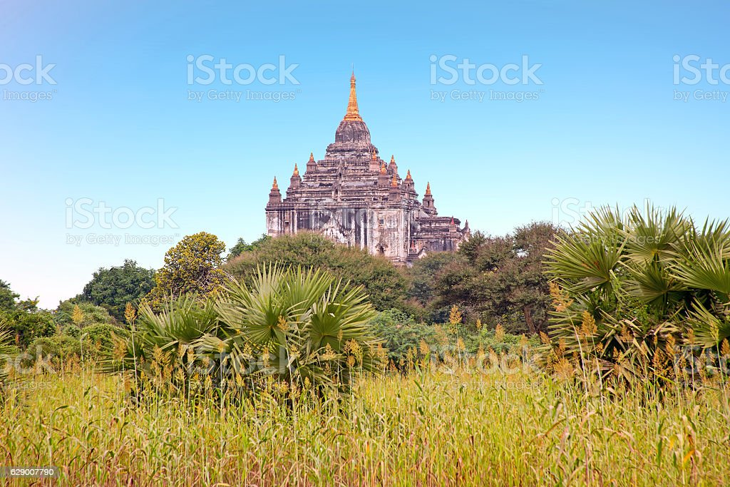 Ancient pagoda in the landscape from Bagan in Myanmar stock photo