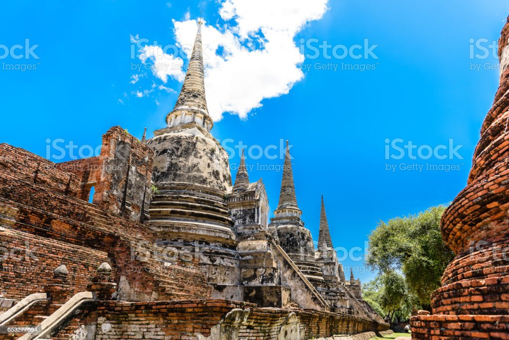 Ancient Pagoda in Wat Phrasisanpetch (Phra Si Sanphet). Ayutthaya historical city, Thailand stock photo