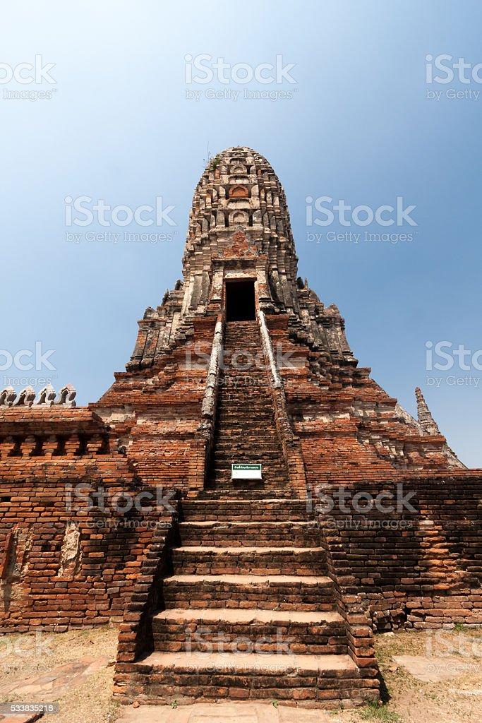 Ancient pagoda on Chaiwatthanaram Temple. stock photo