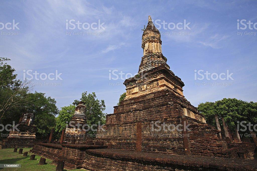Ancient Pagodas on Srisatchanalai historical park royalty-free stock photo