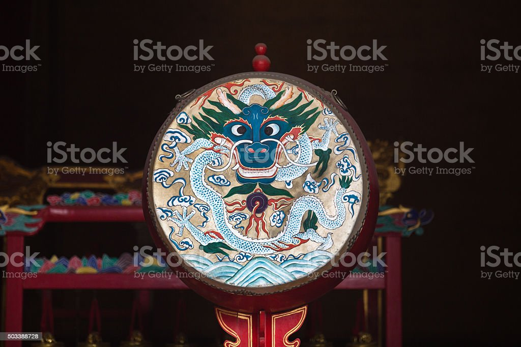 ancient painted drum stock photo
