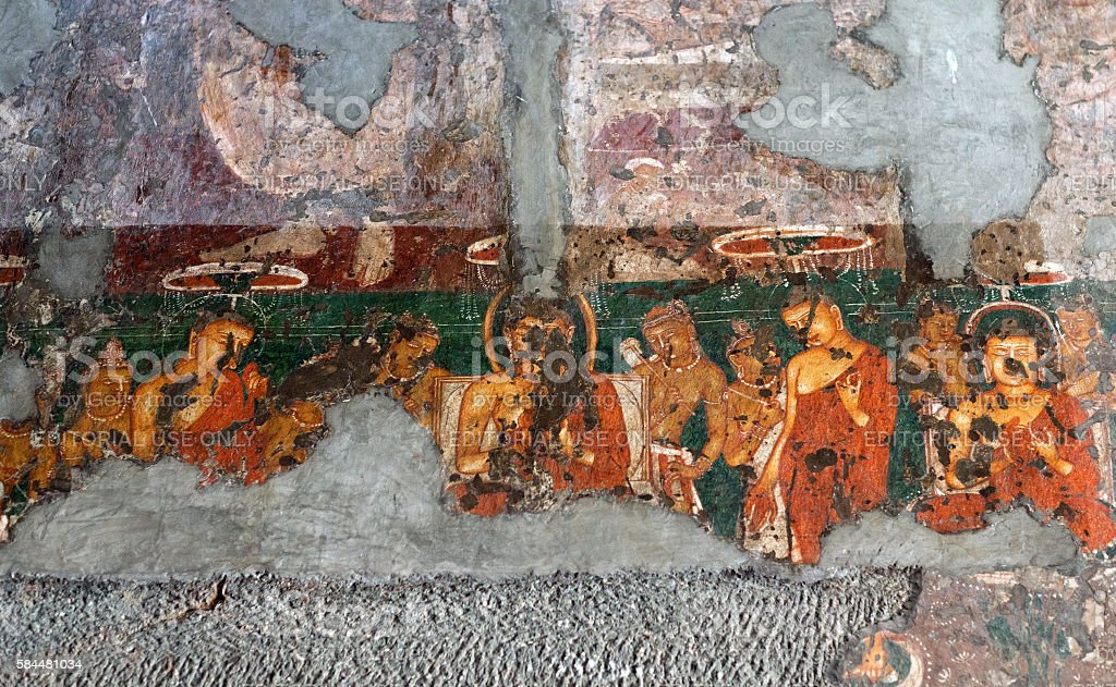 Ancient painted fresco in Ajanta caves, India stock photo