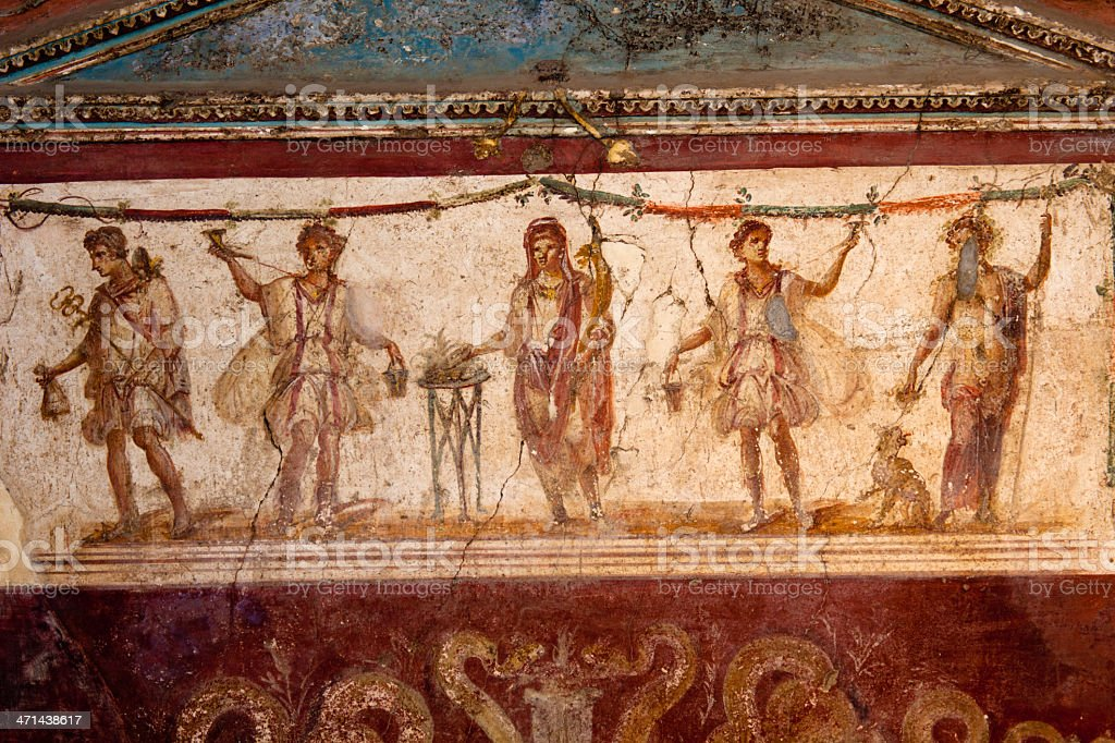 ancient painting in Pompei royalty-free stock photo