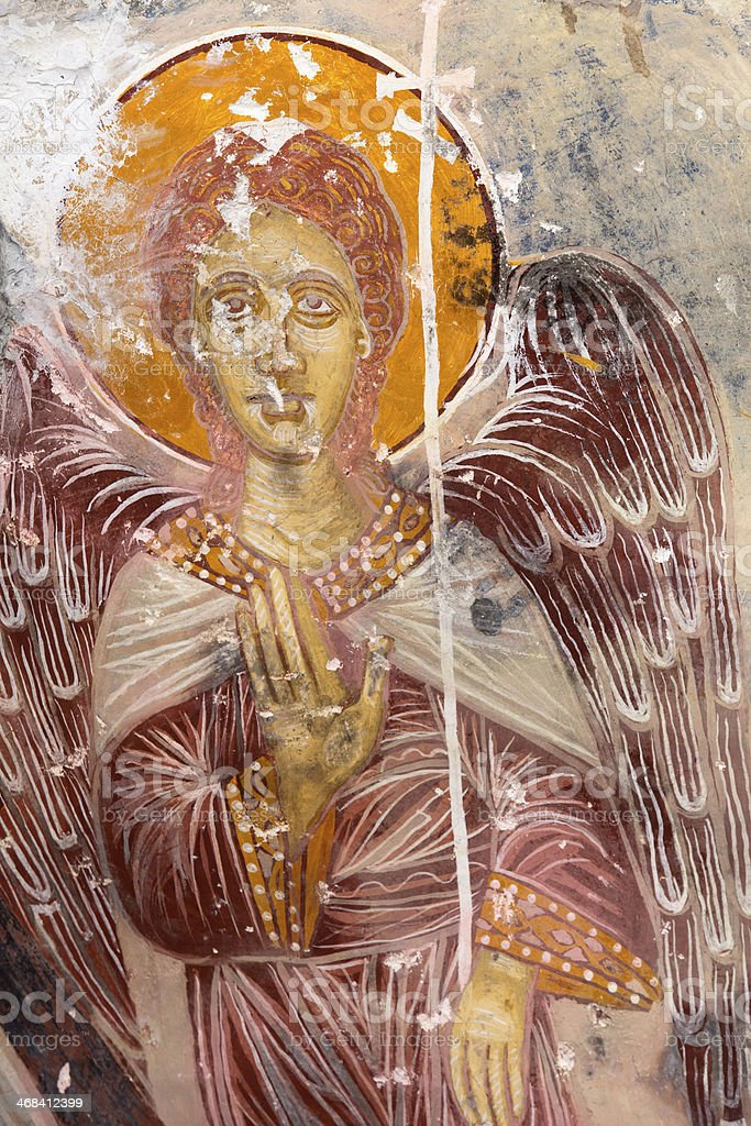 Ancient Painting on the wall of Sumela Monastery stock photo