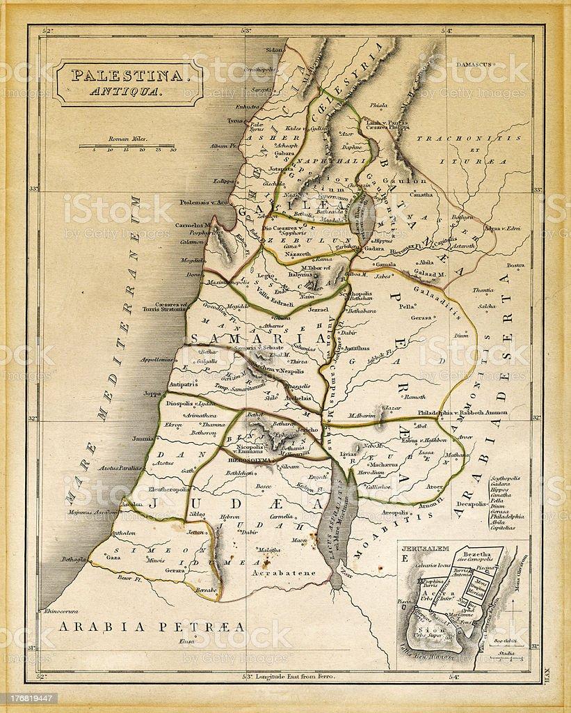 Ancient Palestine Map Printed 1845 stock photo