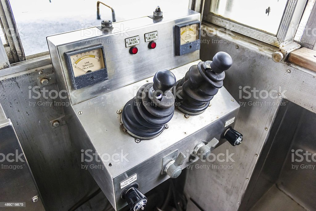 Ancient Panama Canal tug train controls stock photo