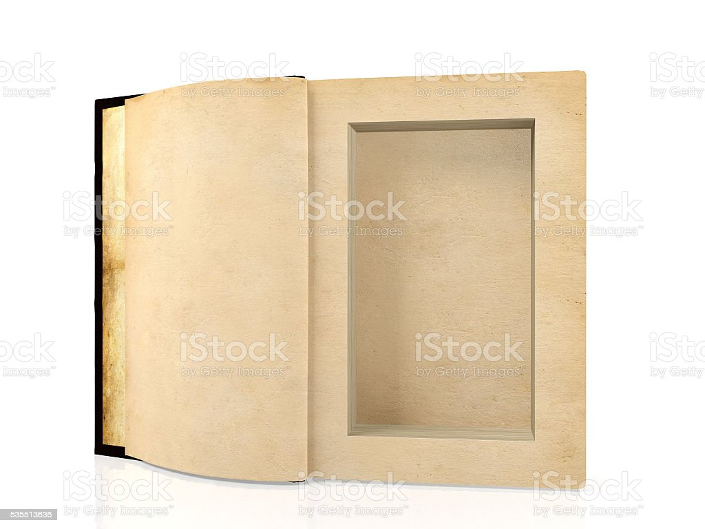 Ancient paper book with hole in middle for hiding something stock photo