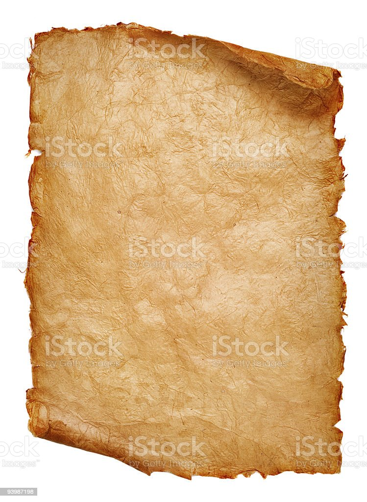 Ancient paper scroll curled up at the top and bottom stock photo
