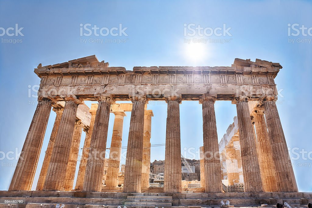 Ancient Parthenon in Acropolis Athens Greece stock photo