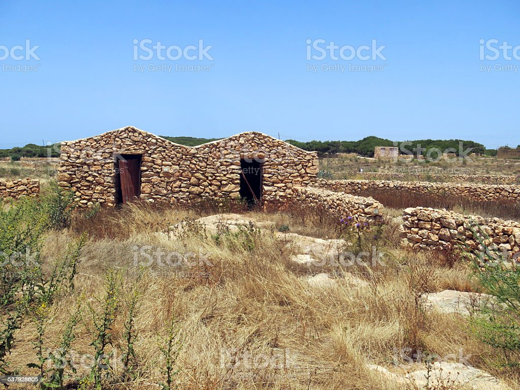 Ancient peasant houses made of stone in Sicily Italy stock photo