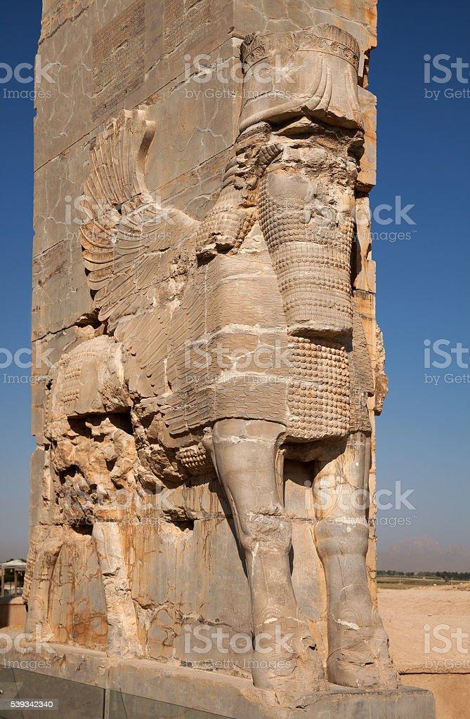 Ancient Persian Achaemenid Lamassu in Persepolise of Shiraz stock photo