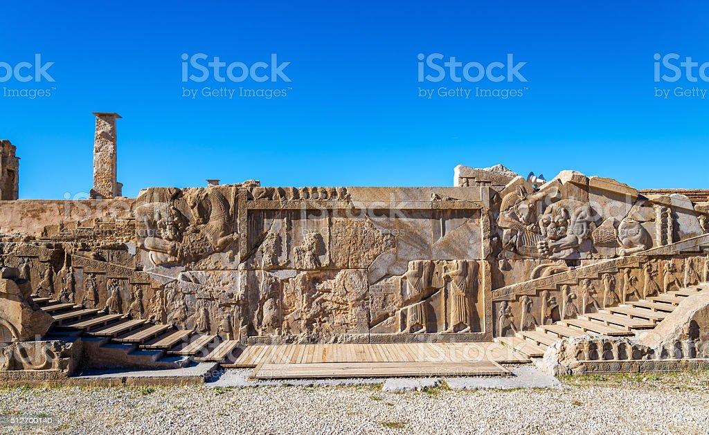 Ancient persian carving in Persepolis - Iran stock photo