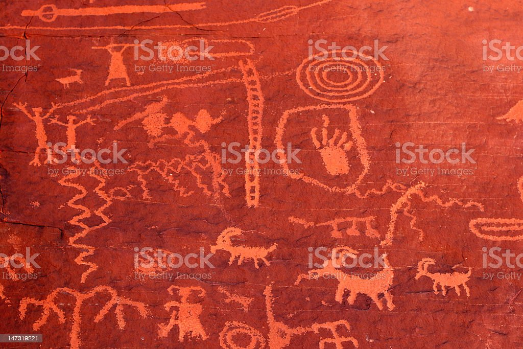 Ancient petroglyphs in Valley of Fire, Nevada stock photo