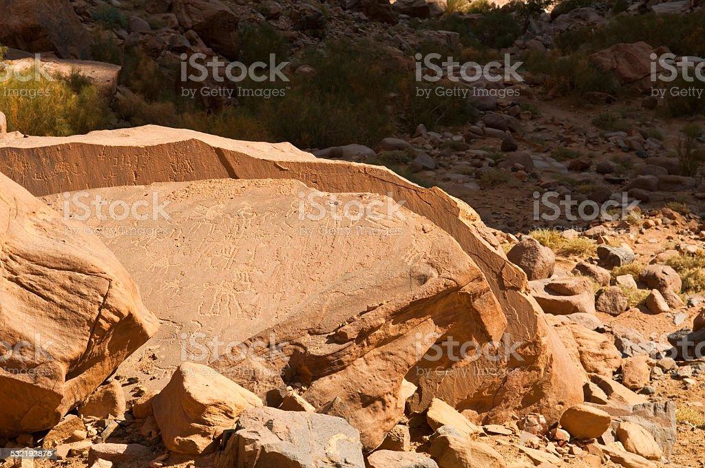 Ancient petroglyphs in Wadi Rum, Jordan stock photo