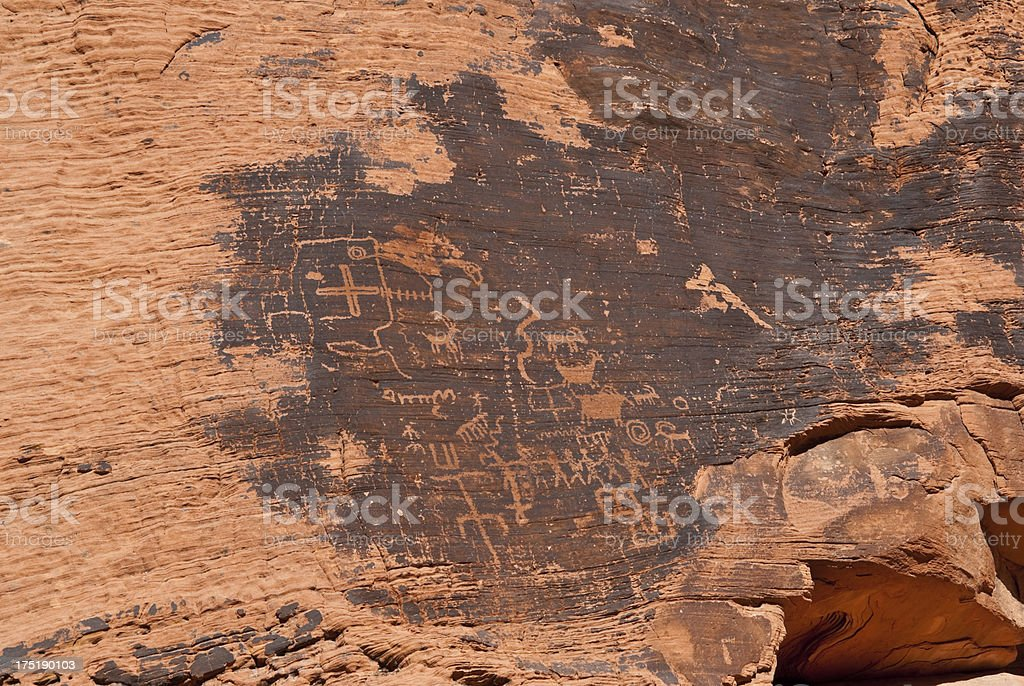 Ancient Petroglyphs on the Canyon Wall royalty-free stock photo