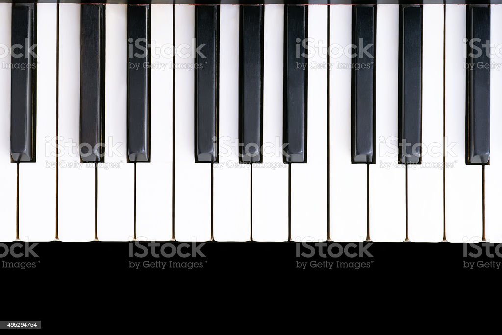 Ancient piano keyboard stock photo