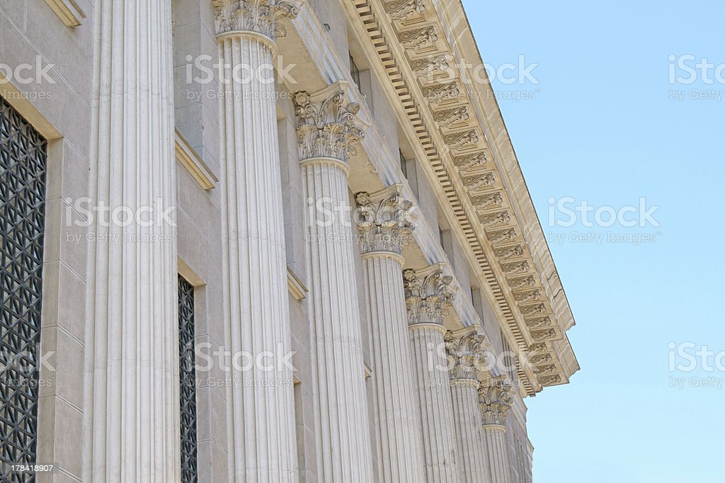 Ancient pillar on old National Greek Bank, Thessaloniki ci royalty-free stock photo