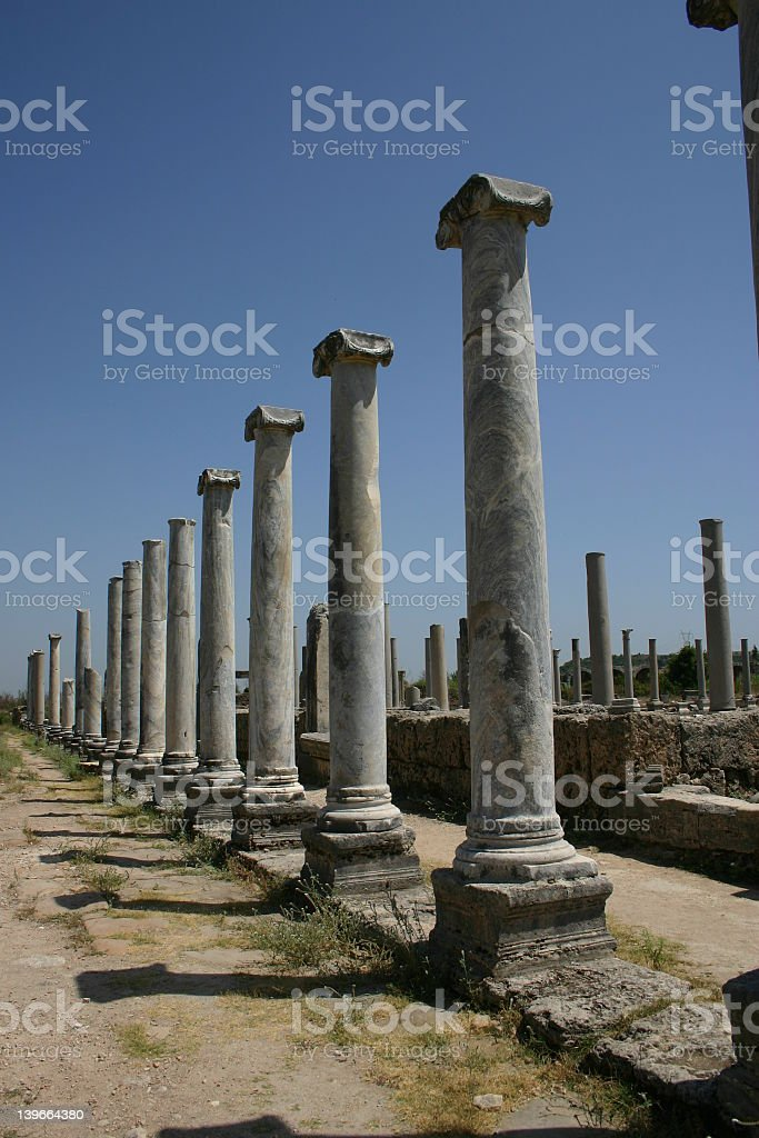 Ancient pillars in Perge, Turkey royalty-free stock photo