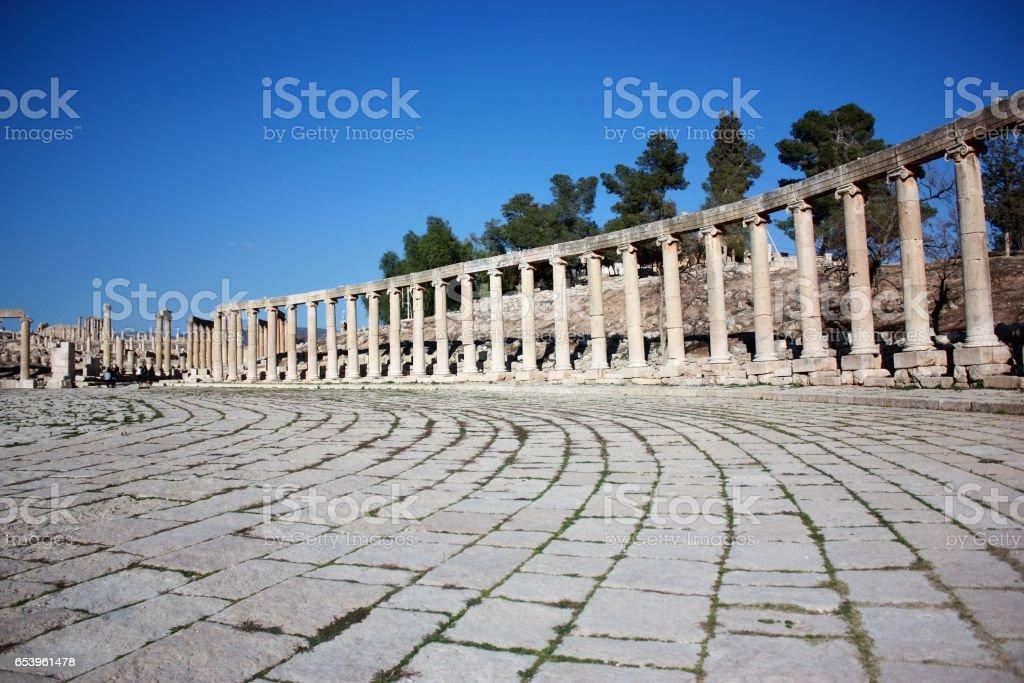 Ancient pillars of  Oval Forum in Jerash, Jordan Middle East stock photo