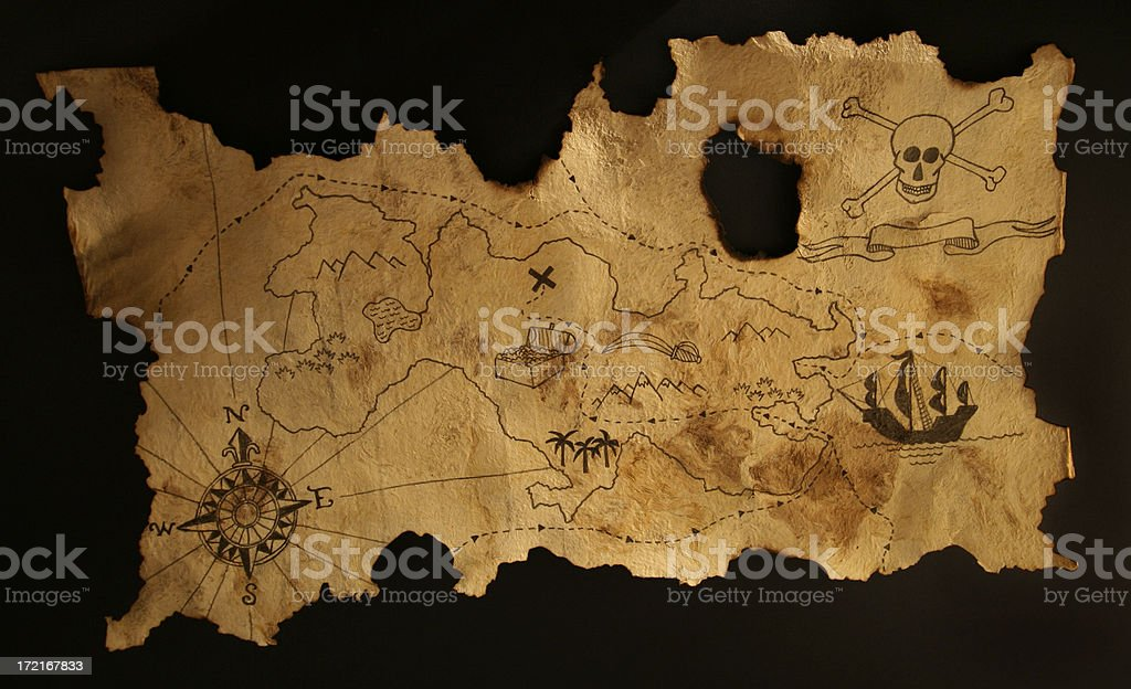 Ancient pirate map royalty-free stock photo