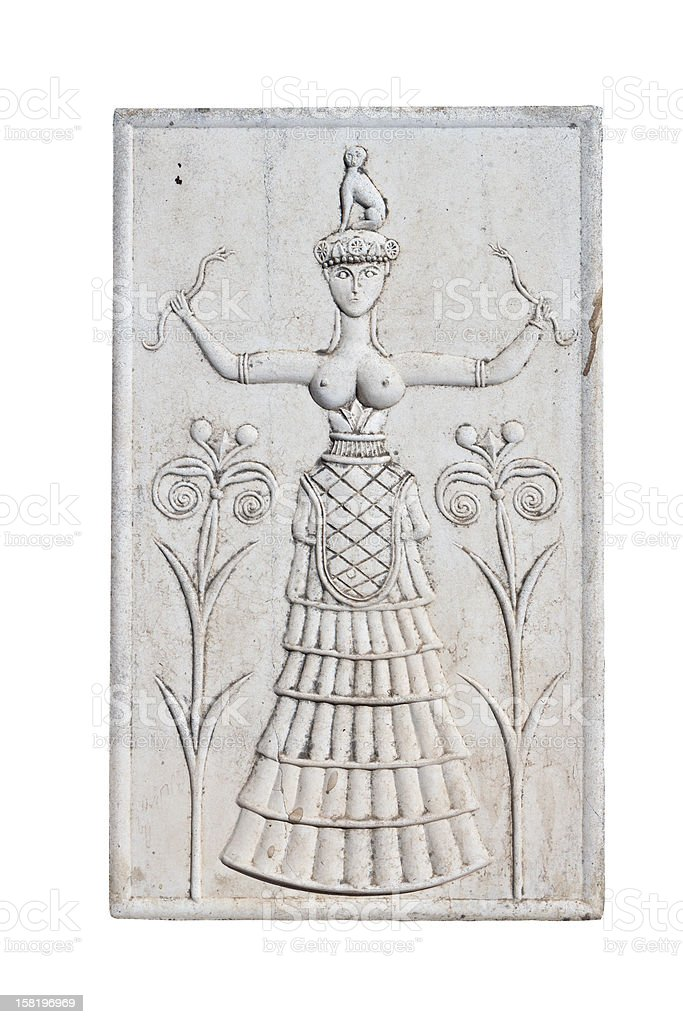Ancient plaque from Knossos palace at Crete, Greece. stock photo