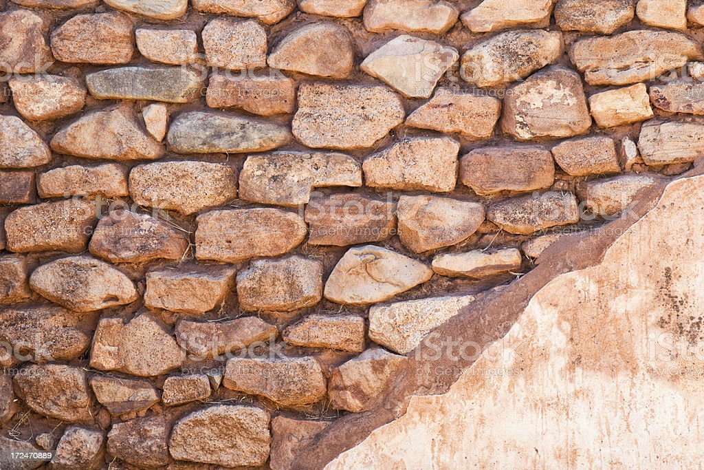 Ancient Plastered Stone Wall royalty-free stock photo