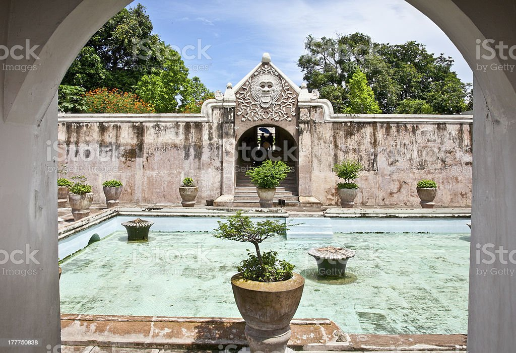 Ancient pool at Taman Sari water castle ,  Java, Indonesia. stock photo