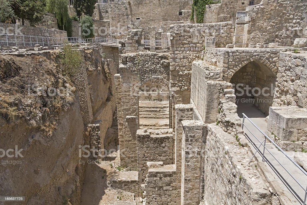 Ancient Pool of Bethesda ruins. Old City, Jerusalem, Israel. royalty-free stock photo