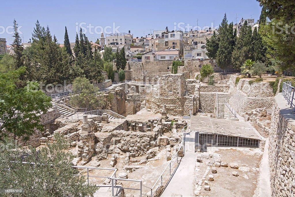 Ancient Pool of Bethesda ruins. Old City, Jerusalem. royalty-free stock photo