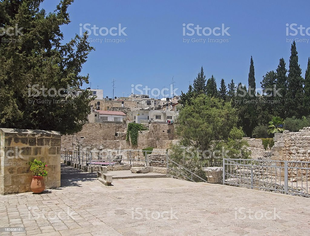 Ancient Pool of Bethesda ruins. Old City, Jerusalem. royalty-free stock photo