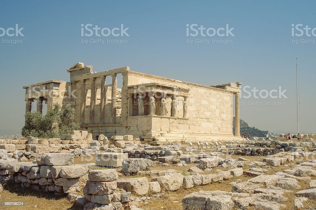 Ancient Porch Of The Caryatids At The Temple Of Erechtheion stock photo