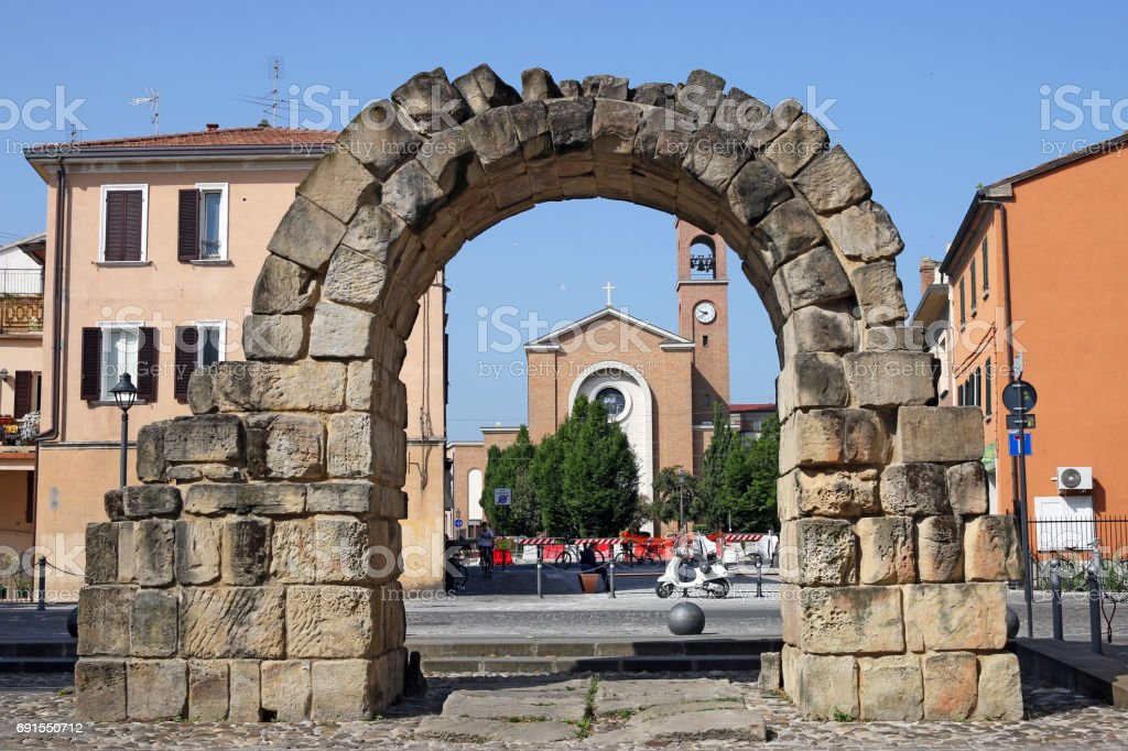 Ancient Porta Montanara Rimini Italy stock photo