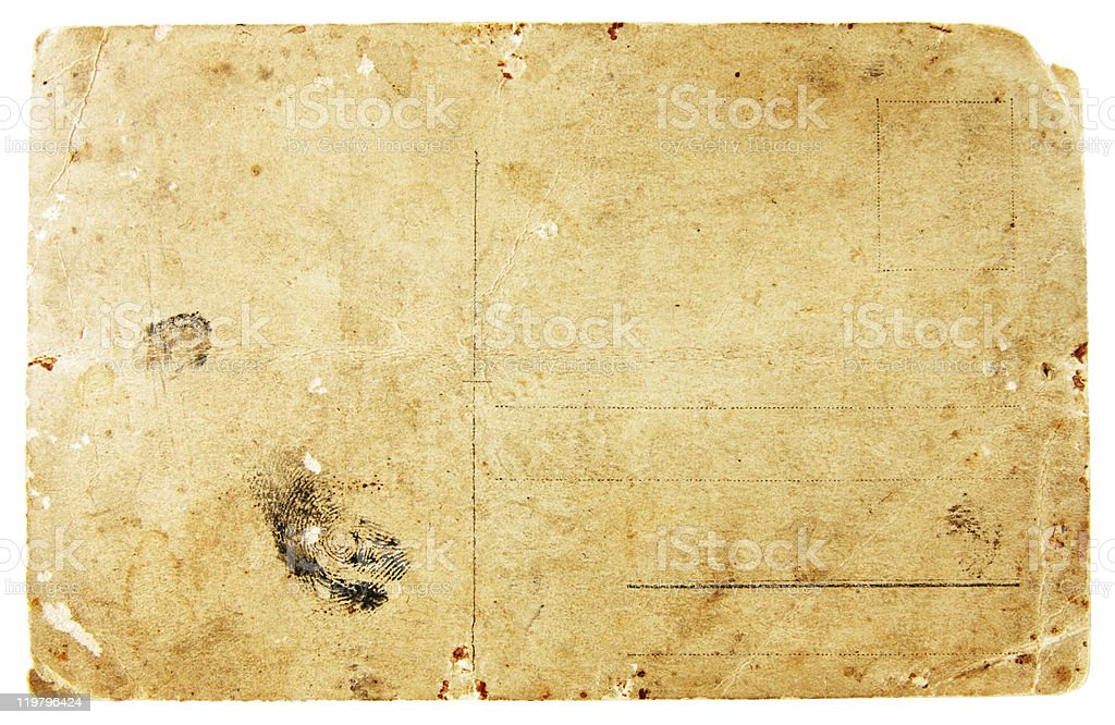 ancient postcard isolated stock photo