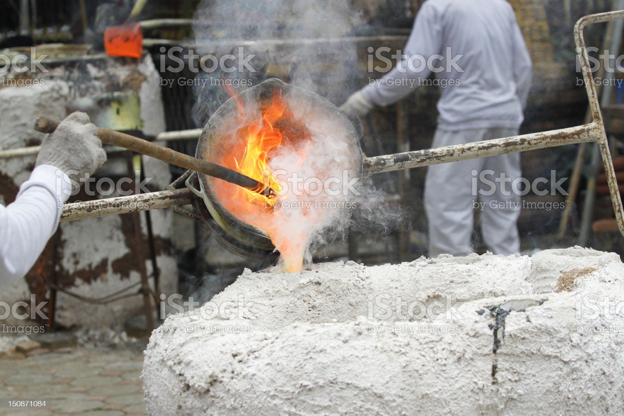 Ancient process metal cast royalty-free stock photo