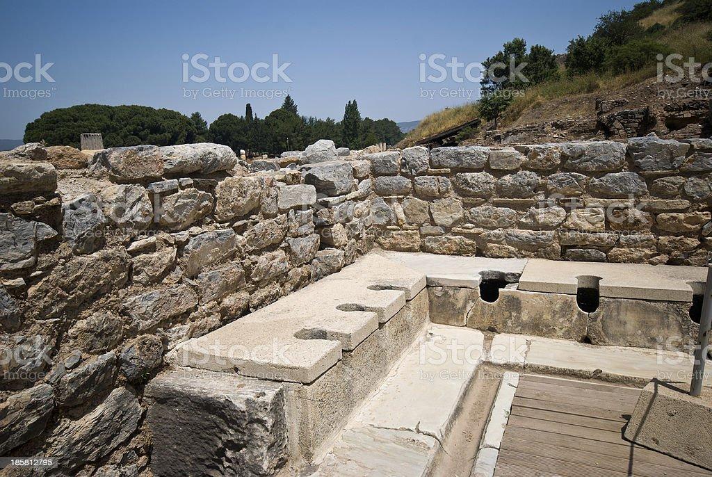 Ancient Public Toilets in Ephesus, Turkey stock photo