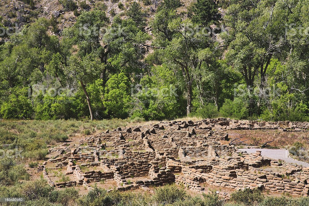 ancient pueblo ruins at Bandelier National Monument in New Mexic stock photo
