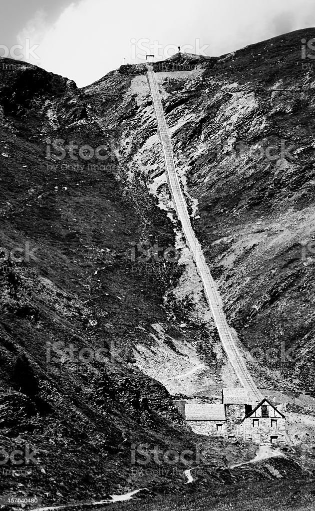 Ancient rail in an abandoned mine stock photo
