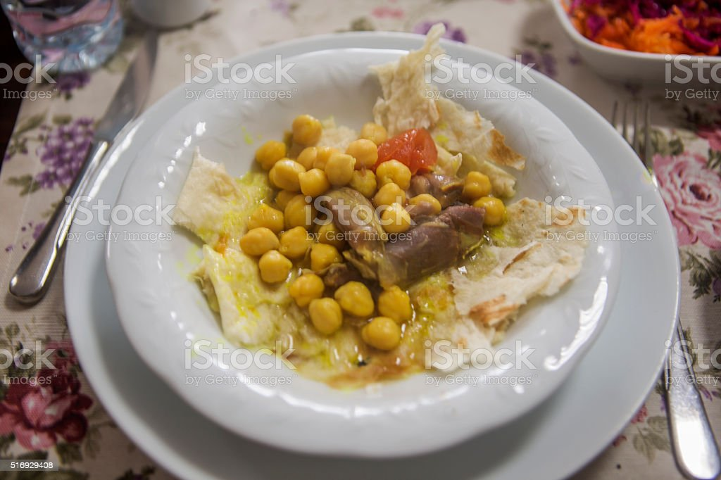 ancient receipe piti meal with beef shank at kars turkey stock photo