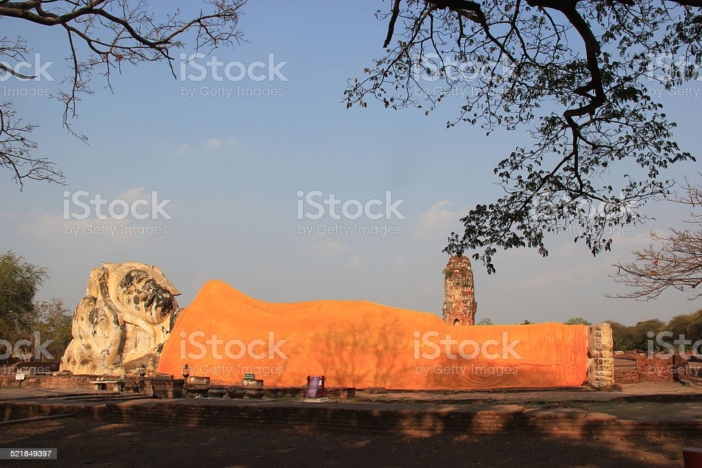 Ancient Recling Buddha at Wat Lokayasutha Temple in Ayudhaya stock photo