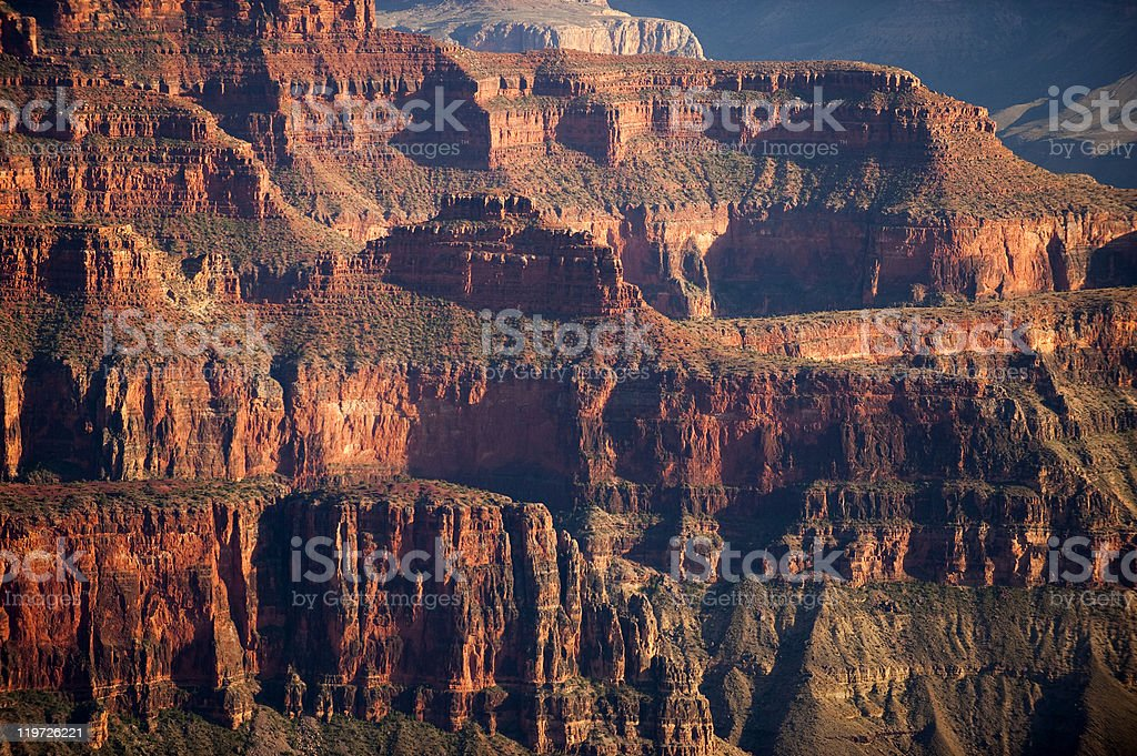 Ancient red rock cliff layers of Grand Canyon stock photo