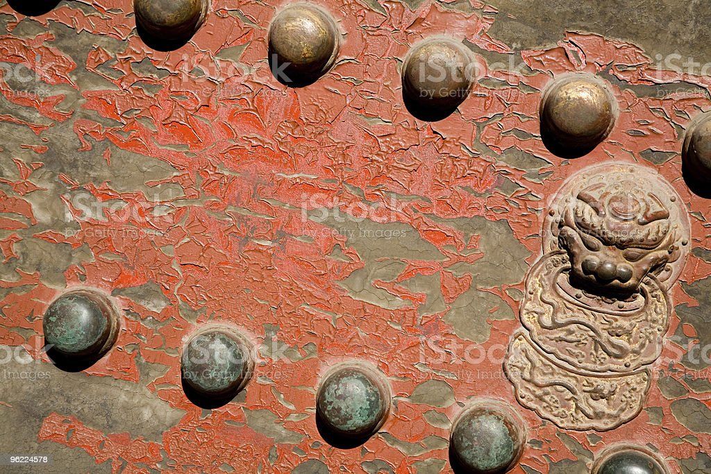Ancient red Temple door royalty-free stock photo