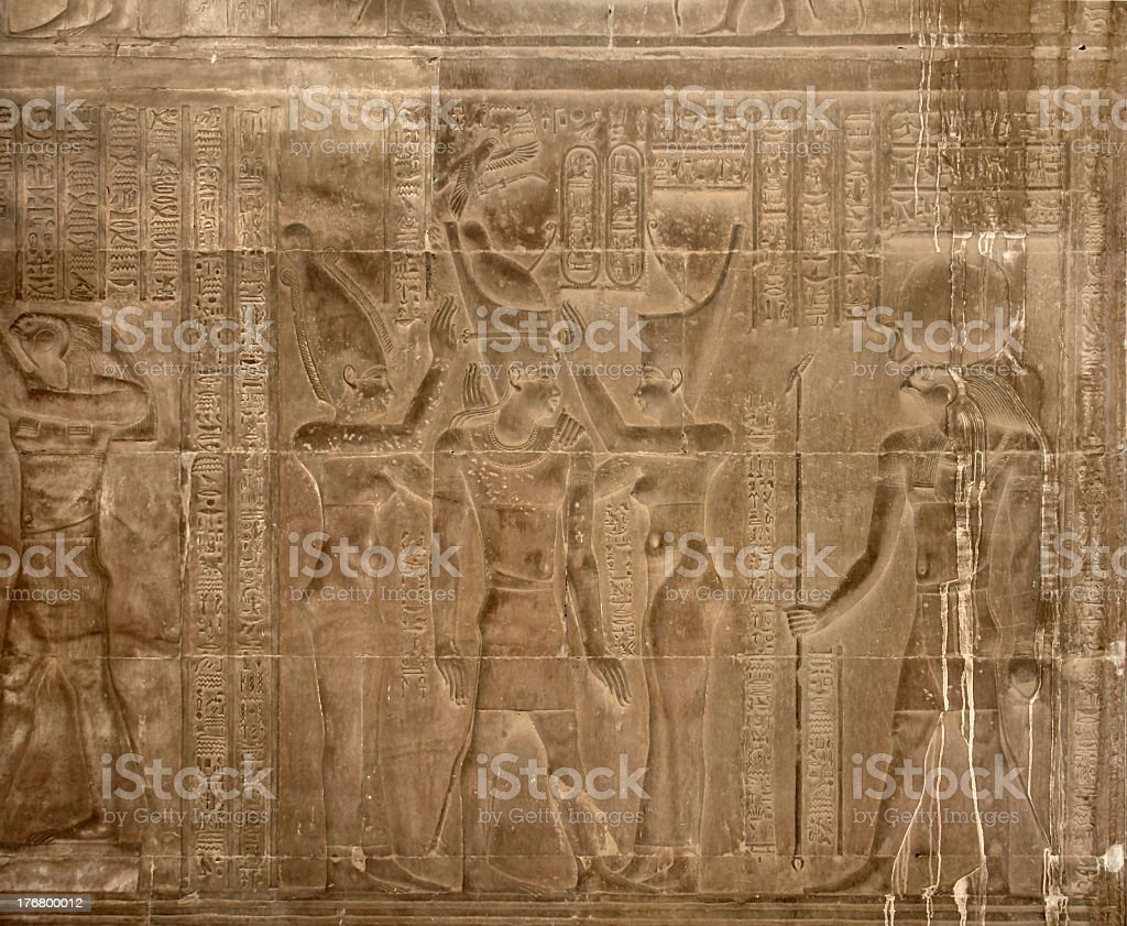 ancient relief at the Temple of Kom Ombo stock photo