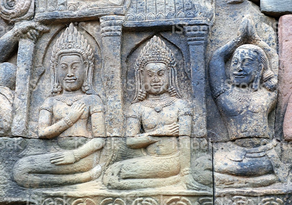 Ancient relief in Angkor Thom, Cambodia stock photo