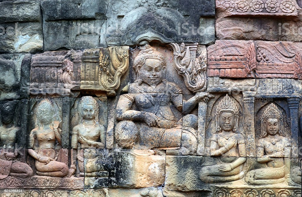 Ancient reliefs in Angkor Thom, Cambodia stock photo